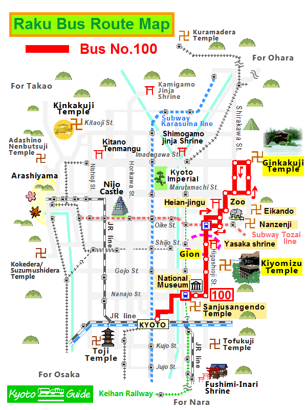 Raku Bus 100 | Kyoto Bus & Train Guide Kyoto Bus Map Route on adelaide bus route map, stockholm bus route map, dubai bus route map, rome bus route map, santiago bus route map, singapore bus route map, takayama bus route map, busan bus route map, xian bus route map, lyon bus route map, berlin bus route map, washington bus route map, manila bus route map, hamamatsu bus route map, frankfurt bus route map, hanoi bus route map, athens bus route map, portland bus route map, wellington bus route map, lima bus route map,